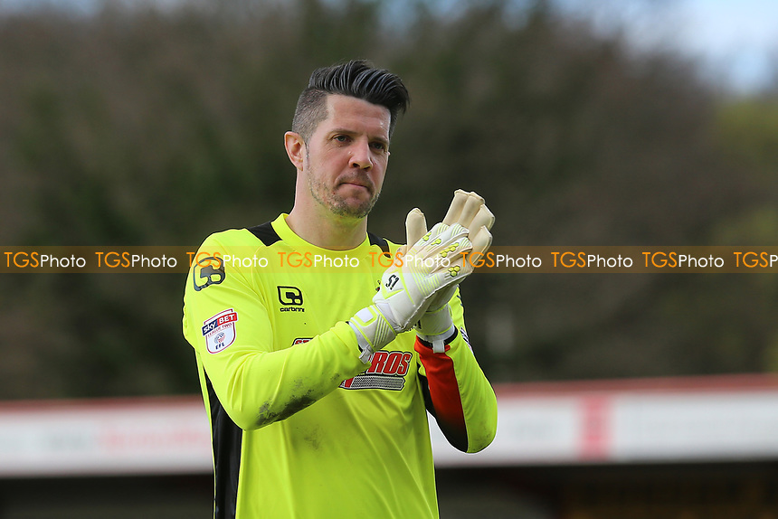 Chris Day of Stevenage thanks the fans during Stevenage vs Barnet, Sky Bet EFL League 2 Football at the Lamex Stadium on 1st April 2017