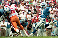 Jason Hanson attempts a field goal, Detroit Lions at Tampa Bay Buccaneers NFL football game won by Tampa Bay 24-14 at Tampa Stadium, in Tampa , Florida on Sunday October 2, 1994 . (Photo by Brian Cleary/bcpix.com)