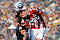 Alan Gordon (16) of CD Chivas USA and Danny Califf (4) of the Philadelphia Union go up for a header. The Philadelphia Union defeated CD Chivas USA 3-0 during a Major League Soccer (MLS) match at PPL Park in Chester, PA, on September 25, 2010.