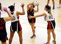 29.09.2014 Eastern Waikato's Tiaan Kasey Taylor in action during the Counties Manukau v Eastern Waikato duing the Lion Foundation Netball Champs at the Trusts Stadium in Auckland. Mandatory Photo Credit ©Michael Bradley.