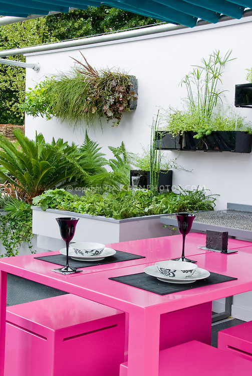Modern upscale patio and pink garden outdoor furniture of table and bench chairs, with white wall and black planter hanging boxes, with dining outdoors table set with wine glasses and plates for a sophisticated color and design and outdoor dining room. Hanging container garden of plants
