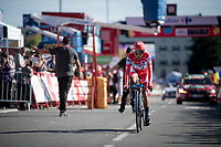 Nairo Quintana (COL/Movistar) rolling in last as at the finish as he was the red jersey (overall leader) at the start of the stage<br /> <br /> stage 10 (ITT): Jurançon to Pau (36.2km > in FRANCE)<br /> La Vuelta 2019<br /> <br /> ©kramon