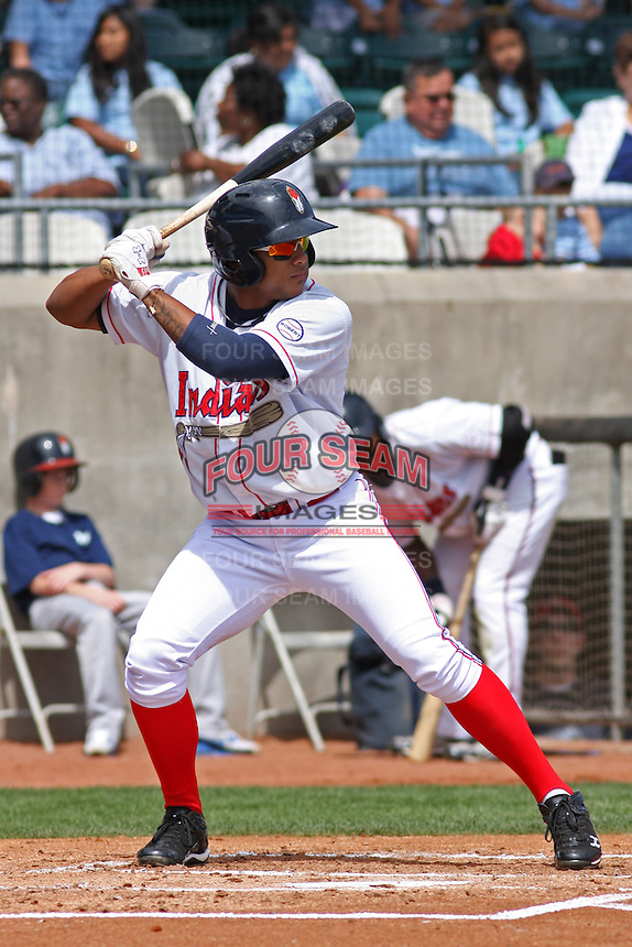 Karexon Sanchez #23 of the Kinston Indians at bat during a game against the Lynchburg Hillcats at Granger Stadium on April 28, 2010 in Kinston, NC. Photo by Robert Gurganus/Four Seam Images.