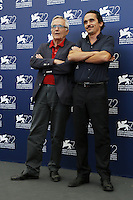 Director Marco Bellocchio, left, attends a photocall with his  son Pier Giorgio, for the movie 'Blood Of My Blood', during the 72nd Venice Film Festival at the Palazzo Del Cinema in Venice, September 8, 2015.<br /> UPDATE IMAGES PRESS/Stephen Richie