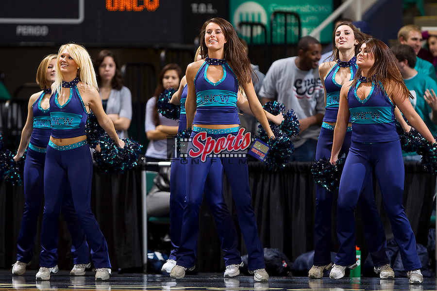 The UNC-Wilmington Seahawks dance team entertains the crowd at the Greensboro Coliseum on December 12, 2010 in Greensboro, North Carolina.  The Seahawks defeated the Demon Deacons 81-69. Photo by Brian Westerholt / Sports On Film
