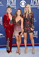 LAS VEGAS, CA - APRIL 07: Hannah Mulholland, Naomi Cooke and Jennifer Wayne of Runaway June attend the 54th Academy Of Country Music Awards at MGM Grand Hotel &amp; Casino on April 07, 2019 in Las Vegas, Nevada.<br /> CAP/ROT/TM<br /> &copy;TM/ROT/Capital Pictures
