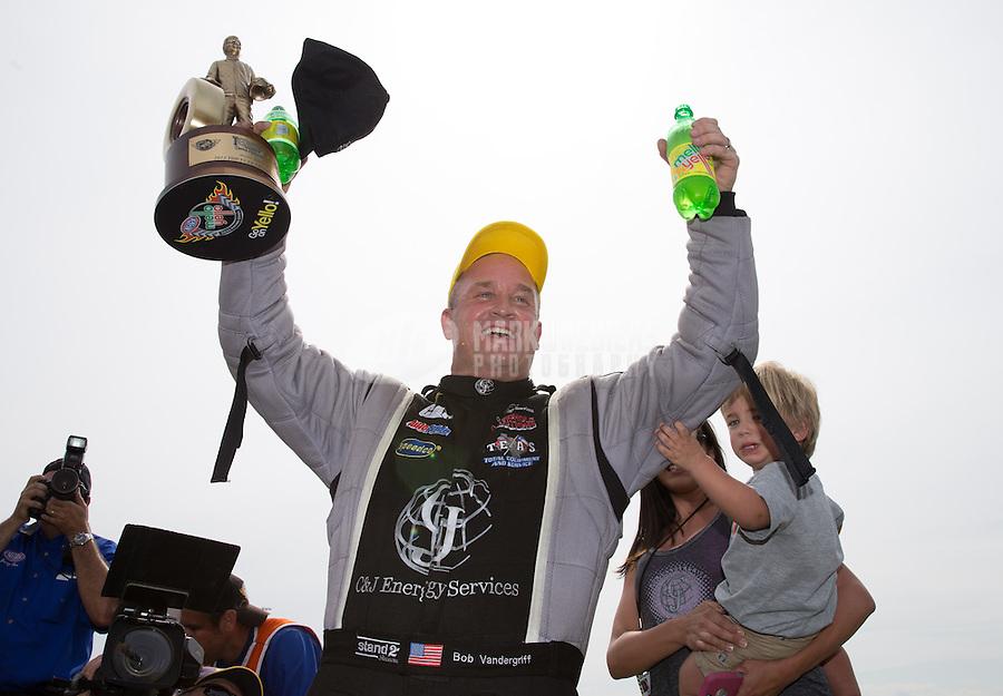Apr. 28, 2013; Baytown, TX, USA: NHRA top fuel dragster driver Bob Vandergriff Jr celebrates after winning the Spring Nationals at Royal Purple Raceway. Mandatory Credit: Mark J. Rebilas-
