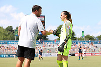 Cary, North Carolina  - Saturday July 01, 2017: Katelyn Rowland and Nathan Thackeray during an injury stoppage during a regular season National Women's Soccer League (NWSL) match between the North Carolina Courage and the Sky Blue FC at Sahlen's Stadium at WakeMed Soccer Park. Sky Blue FC won the game 1-0.