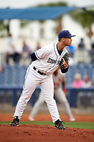 Charlotte Stone Crabs relief pitcher Reece Karalus (14) looks in for the sign during a game against the Palm Beach Cardinals on April 11, 2017 at Charlotte Sports Park in Port Charlotte, Florida.  Palm Beach defeated Charlotte 12-6.  (Mike Janes/Four Seam Images)