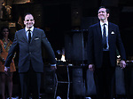 "Johnny Lee Miller and Bertie Carvel during the Broadway Opening Night Curtain Call for ""Ink"" at the Samuel J. Friedman Theatre on April 24, 2019  in New York City."