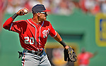 10 June 2012: Washington Nationals shortstop Ian Desmond in action against the Boston Red Sox at Fenway Park in Boston, MA. The Nationals defeated the Red Sox 4-3 to sweep their 3-game interleague series. Mandatory Credit: Ed Wolfstein Photo