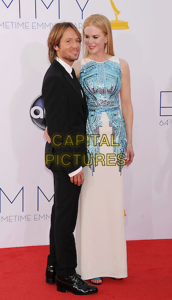 Keith Urban, Nicole Kidman.The 64th Anual Primetime Emmy Awards held at Nokia Theatre L.A. Live in Los Angeles, California, USA..September 23rd, 2012.emmys full length black suit white shirt tie beard stubble facial hair blue sleeveless sequins sequined dress married husband wife side tall short.CAP/ROT/TM.© TM/Roth/Capital Pictures
