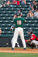 Austen Smith (18) of the Greensboro Grasshoppers at bat against the Hickory Crawdads at L.P. Frans Stadium on May 6, 2015 in Hickory, North Carolina.  The Crawdads defeated the Grasshoppers 1-0.  (Brian Westerholt/Four Seam Images)