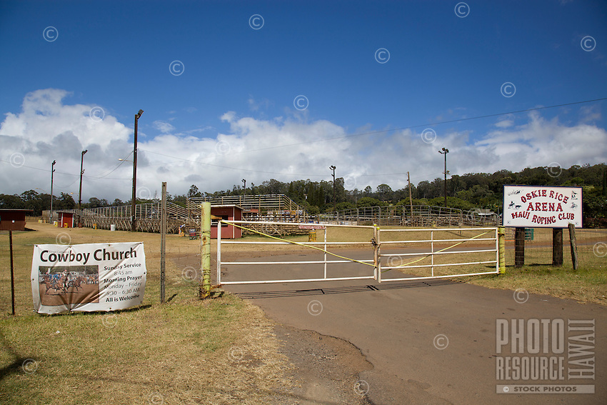 The Oskie Rice Arena, with signs for the King's Cathedral Cowboy Church and the Maui Roping Club, Olinda Road, Makawao, Maui.