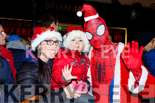 Sean and Elaine Dennehy met Spiderman at the Kiilarney Christma parade on Saturday night