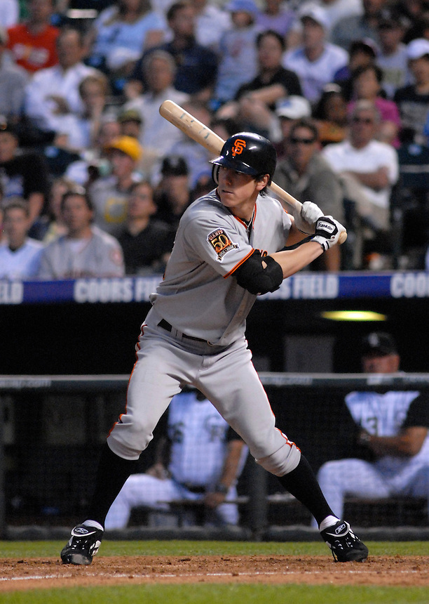 20 May 2008: Giants starting pitcher Tim Lincecum at bat during a regular season game between the San Francisco Giants and the Colorado Rockies at Coors Field in Denver, Colorado. The Giants beat the Rockies 6-5. *****For editorial use only*****