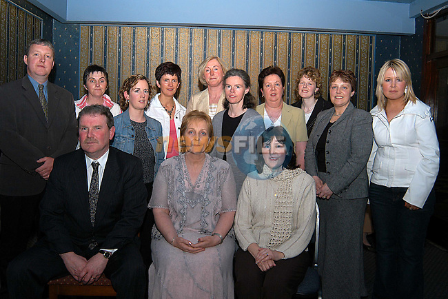 Teacher Kathleen Byrne (front row centre) who recently retired from Scoil Bride in Dunleer after 28 years of service pictured here with all her fellow teachers at a social evening in her honour at the Grove hotel Dunleer..Photo: Colin Bell Newsfile.