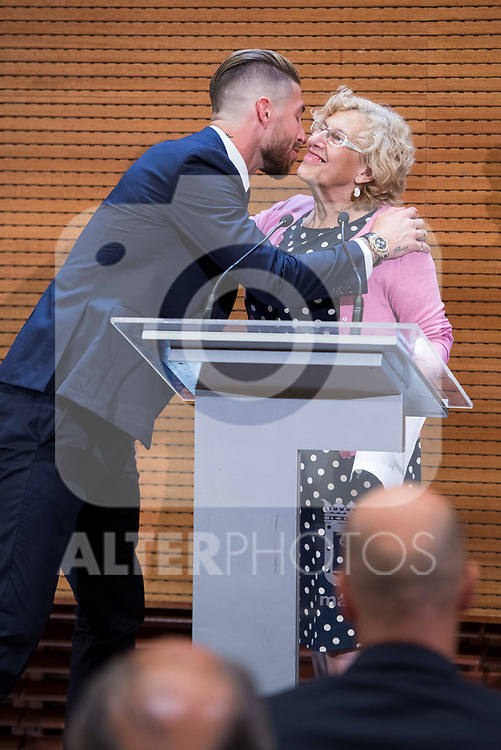 Real Madrid Sergio Ramos and Madrid Mayor Manuela Carmena  during visit to Madrid Council during  the celebration of the 13th UEFA Championship in Madrid, June 04, 2017. Spain.<br /> (ALTERPHOTOS/BorjaB.Hojas)