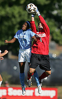 OCT 2, 2005: College Park, MD, USA:  UNC Tarheel forward #1 Leea Murphy collides with Maryland Terrapins goalkeeper #4 Nikki Resnick at Ludwig Field.  UNC won, 4-0. Mandatory Credit: Photo By Brad Smith (c) Copyright 2005 Brad Smith