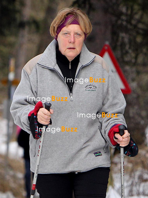 Chancellor Angela Merkel dresses casually as  she was seen enjoying some Christmas vacation in Saint Moritz, Switzerland.<br /> 22 December, 2014.