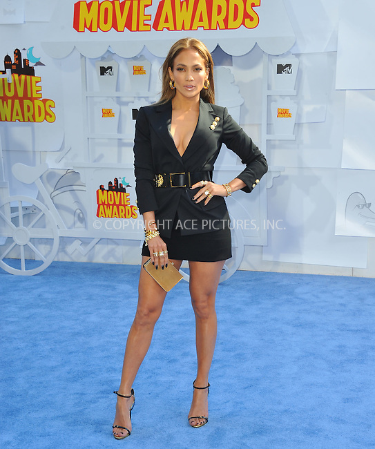 WWW.ACEPIXS.COM<br /> <br /> April 12 2015, LA<br /> <br /> Jennifer Lopez arriving at the 2015 MTV Movie Awards at the Nokia Theatre L.A. Live on April 12, 2015 in Los Angeles, California.<br /> <br /> By Line: Peter West/ACE Pictures<br /> <br /> <br /> ACE Pictures, Inc.<br /> tel: 646 769 0430<br /> Email: info@acepixs.com<br /> www.acepixs.com