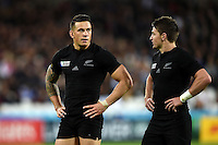 Sonny Bill Williams of New Zealand speaks to team-mate Beauden Barrett. Rugby World Cup Pool C match between New Zealand and Namibia on September 24, 2015 at The Stadium, Queen Elizabeth Olympic Park in London, England. Photo by: Patrick Khachfe / Onside Images