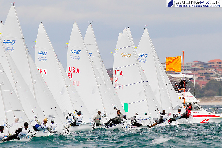 20111208, Perth, Australia: PERTH 2011 ISAF SAILING WORLD CHAMPIONSHIPS - 1200 sailors from 79 countries compete to qualify their nation for the 2012 Olympics. 470 Class - Men.  (USA).  Photo: Mick Anderson/SAILINGPIX.DK