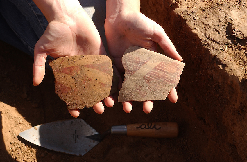 Tanque Verde Red on brown pottery typical of Hohokam sites in the Southern Arizona Basin where found at the bottom of a water tank used during the 13th century near marana