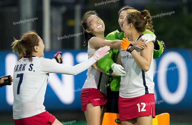 02/07/2015<br /> HWL Semi Final Antwerp Belgium 2015<br /> New Zealand v Korea Women<br /> Korea Celebrate <br /> Photo: Grant Treeby