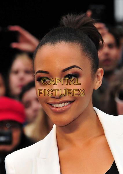 Amal Fashanu<br /> 'Man Of Steel' UK film premiere, Empire cinema, Leicester Square, London, England.<br /> 12th June 2013<br /> headshot portrait white  <br /> CAP/BF<br /> &copy;Bob Fidgeon/Capital Pictures