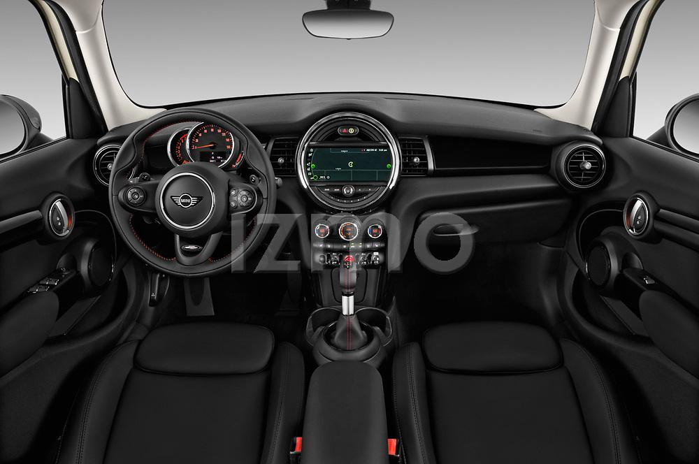 Stock photo of straight dashboard view of 2019 MINI Hardtop-4-Door Cooper-S 5 Door Hatchback Dashboard