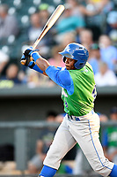 Center fielder Kahlil Lee (9) of the Lexington Legends bats in a game against the Columbia Fireflies on Thursday, June 8, 2017, at Spirit Communications Park in Columbia, South Carolina. Columbia won, 8-0. (Tom Priddy/Four Seam Images)