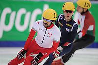 "SHORT TRACK: MOSCOW: Speed Skating Centre ""Krylatskoe"", 15-03-2015, ISU World Short Track Speed Skating Championships 2015, Quarterfinals 1000m Men, Charles HAMELIN (#110 | CAN), ©photo Martin de Jong"