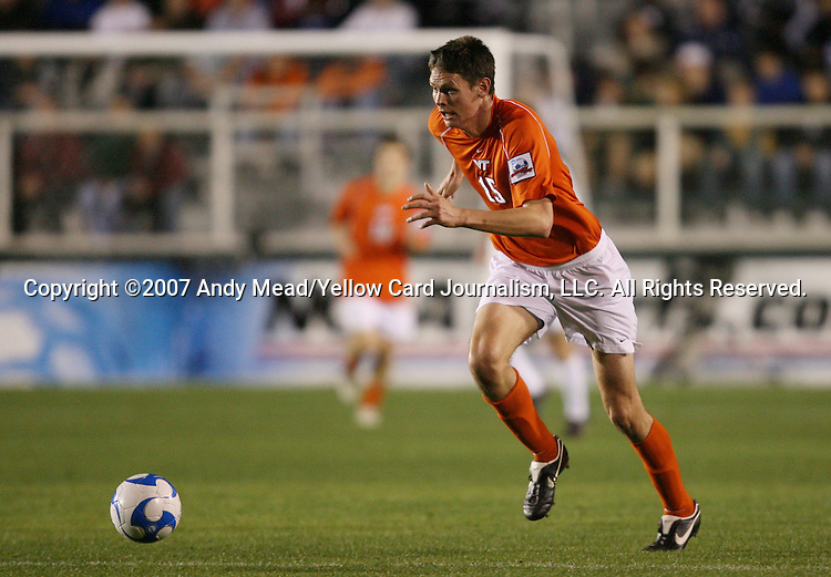 14 December 2007: Virginia Tech's Robert Edmans (ENG). The Wake Forest University Demon Deacons defeated the Virginia Tech University Hokies 2-0 at SAS Stadium in Cary, North Carolina in a NCAA Division I Mens College Cup semifinal game.