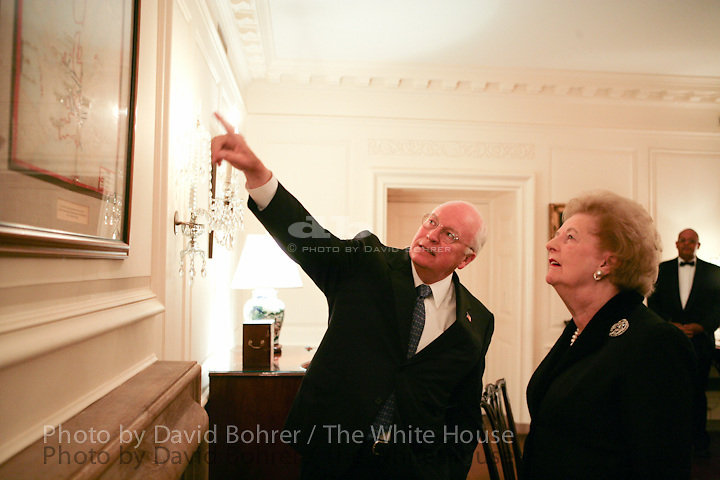 "VP Cheney and Lynne Cheney: Look at World War II map, ""Estimated German Situation 1 May 1945,"" in Map Room before Moment of Silence on the South Lawn.  Former Prime Minister of Great Britain Margaret Thatcher."