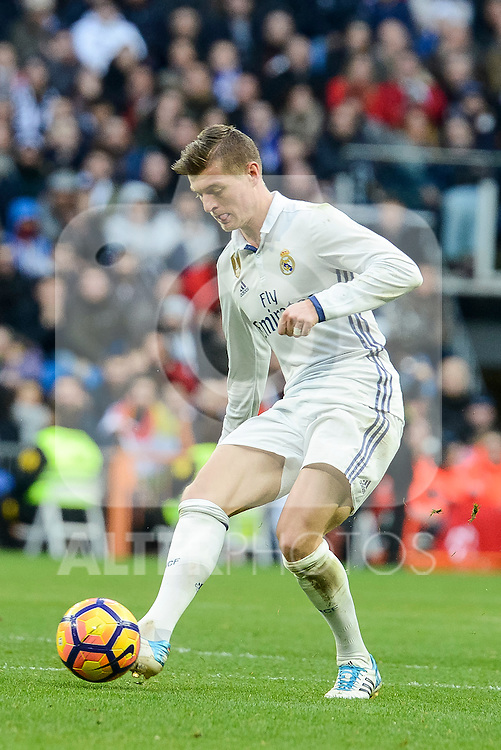 Real Madrid's Toni Kroos during La Liga match between Real Madrid and Malaga CF at Santiago Bernabeu Stadium in Madrid, Spain. January 21, 2017. (ALTERPHOTOS/BorjaB.Hojas)