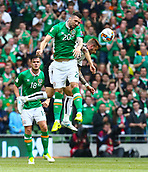 June 11th 2017, Dublin, Republic Ireland; 2018 World Cup qualifier, Republic of Ireland versus Austria;  Shane Duffy of Ireland wins the header