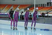 SPEEDSKATING: SOCHI: Adler Arena, 19-03-2013, Training, Gerard van Velde (trainer/coach Team Beslist.nl), Mark Tuitert (NED), Michel Mulder (NED), Hein Otterspeer (NED), © Martin de Jong