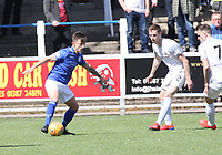 Connor Murray on the ball watched by Ryan Harrington (left) and Graham Webster in the SPFL Ladbrokes Championship Play Off semi final match between Queen of the South and Montrose at Palmerston Park, Dumfries on  11.5.19.