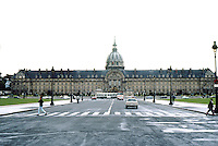 Paris: Hotel Des Invalides, 1671-1676. The dome of the church is far behind the facade of the hotel. Provided quarters for 4000.  Facade length--645 ft. Photo '90.