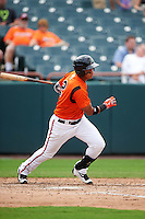 Bowie Baysox first baseman Garabez Rosa (2) at bat during the first game of a doubleheader against the Akron RubberDucks on June 5, 2016 at Prince George's Stadium in Bowie, Maryland.  Bowie defeated Akron 6-0.  (Mike Janes/Four Seam Images)