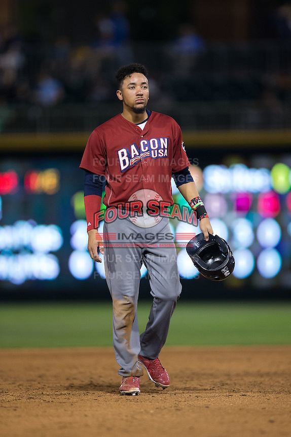 J.P. Crawford (3) of the Lehigh Valley Iron Pigs during the game against the Charlotte Knights at BB&T BallPark on June 3, 2016 in Charlotte, North Carolina.  The Iron Pigs defeated the Knights 6-4.  (Brian Westerholt/Four Seam Images)