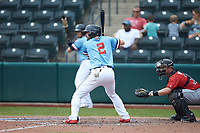Eric Stamets (2) of the Columbus Clippers at bat against the Indianapolis Indians at Huntington Park on June 17, 2018 in Columbus, Ohio. The Indians defeated the Clippers 6-3.  (Brian Westerholt/Four Seam Images)