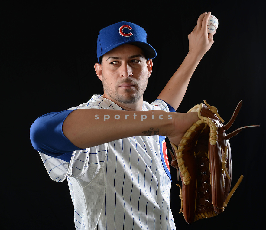 Chicago Cubs Jonathan Sanchez (57) at media photo day during spring training on February 24, 2014 in Mesa, AZ.