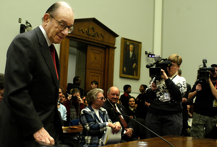 """Federal Reserve Chairman Alan Greenspan testified today before the House Financial Services Committee. He said the economy had made """"impressive gains."""""""