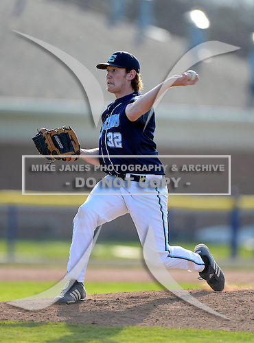 Eastridge Lancers Nico Piacentini during a varsity baseball game against the Batavia Blue Devils at Dwyer Stadium on April 26, 2013 in Batavia, New York.  (Copyright Mike Janes Photography)