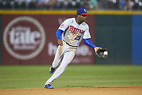 Buffalo Bison shortstop Darnell Sweeney (29) fields a ground ball during the game against the Charlotte Knights at BB&T BallPark on August 14, 2018 in Charlotte, North Carolina. The Bison defeated the Knights 14-5.  (Brian Westerholt/Four Seam Images)