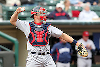 Lehigh Valley Ironpigs catcher Erik Krantz #19 in the field during the first game of a double header against the Rochester Red Wings at Frontier Field on April 14, 2011 in Rochester, New York.  Rochester defeated Lehigh Valley with a walk off home run 3-1 in the bottom of the seventh.  Photo By Mike Janes/Four Seam Images