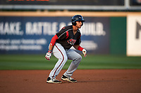 Lake Elsinore Storm third baseman Hudson Potts (15) takes a lead off second base during a California League game against the Rancho Cucamonga Quakes at LoanMart Field on May 18, 2018 in Rancho Cucamonga, California. Lake Elsinore defeated Rancho Cucamonga 5-4. (Zachary Lucy/Four Seam Images)