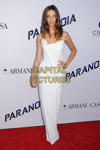 Angela Sarafyan<br /> &quot;Paranoia&quot; Los Angeles Premiere held at the Directors Guild of America, West Hollywood, California, USA, 8th August 2013.<br /> full length white dress hand on hip strapless long maxi <br /> CAP/ADM/BP<br /> &copy;Byron Purvis/AdMedia/Capital Pictures